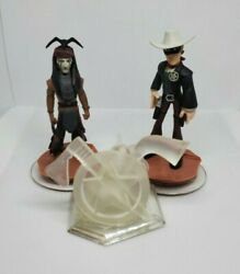 Disney Infinity 1.0 Lone Ranger And Tonto W Crystal Figurines Playset Lot Of 3