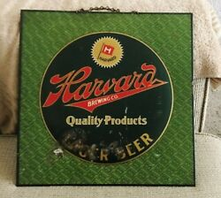 Rare Harvard Beer - Brewing Co Metal Sign Tin Over Cardboard Toc Lowell Ma