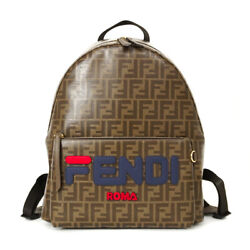 Pre-owned Fendi 7vz042 Zucca Fila Backpack Brown Navy Red Pvc Canvas Leather F/s