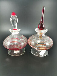 Set Of 2 Glass Act Studio Art Glass Hand Blown Perfume Bottles Clear Red Vintage