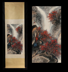 Antique Chinese Finely Painted Scroll Painting Of Landscape By Li Xiongcai