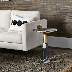 16 W Accent Table Natural Black And White Panda Marble Stone Brass Metal Sleeve