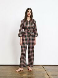 Ace And Jig Long Sleeve Button Front Jumpsuit In Scout Plaid Sz S Missing Belt