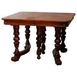 Antique Victorian Carved Oak Extension Dining Table Four Leaves Circa 1900