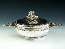 Antique 19th Century French Signed Boin Taburet 950 Sterling Silver Bowl Server