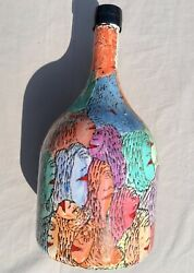 Howard Finster Painting On A Wine Jug Great American Outsider Art