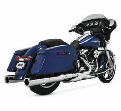 Power Dual Exhaust For Harley Flh Flt 2009-2016 12mm And 18mm Bungs Chrome