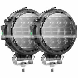 2x 7 120w Round Led Work Light Spot Beam Lamp Drl Driving Reserve Offroad 4x4