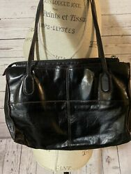 Hobo Black Soft Leather Handbag Purse Satchel EUC $28.00