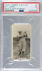 1926 Lambert And Butler Who's Who In Sport 1926 Tobacco Bobby Jones Psa 3 Rookie