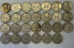1953 And 1954 Lot Of Silver Franklin Half Dollars 27 Total . As