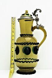Bohemian Art Glass Amber Carafe Pitcher W Pewter Hinge Handle Applied Prunts