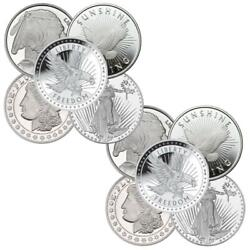 1 Oz Silver Round Lot Of 10- New From Mint- Random Design-. 999 Fine Silver