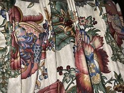 Schumacher Custom French Country Floral Pinch Pleat Drapes 84andrdquol Jewel Tones