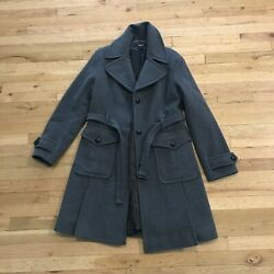 Dkny Size 14 Gray Belted Wool Cashmere Coat Trench Style Classic Warm Soft Lined