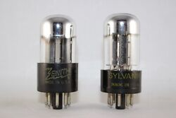 Tightly Matched Clean Pair 2 Sylvania 6sn7gta Test Very Strong 103-104 New Nos
