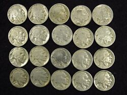 20 Partial Date Buffalo Nickels Mixed Date Many Teens/20s Half Roll 5c