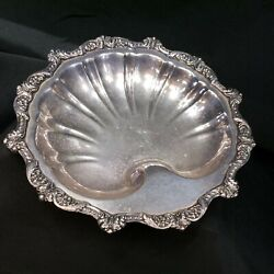 Vintage Silver Plated Footed Shell Serving Tray Old English By Poole 5013 Epca