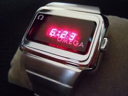 Vintage Omega Time Computer Led Lcd Digital Watch - Rare One Button Ss Tc1