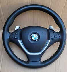 08-12 Bmw X5 X6 E70 E71 Complete Leather Sport Steering Wheel Paddle Shifters
