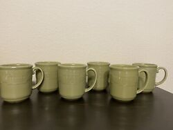 6 Longaberger Pottery Woven Traditions Mugs Cups Sage Green