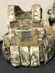 Multicam Tactical Vest Plate Carrier With Plates- 2 8x10 Curved Plates