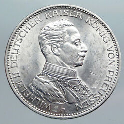 1914a Germany German States Prussia Wilhelm Ii Antique Silver 3 Mark Coin I90446