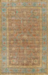 Antique Floral Traditional Decorative Brown 7and039x10and039 Tebriz Distressed Area Rug