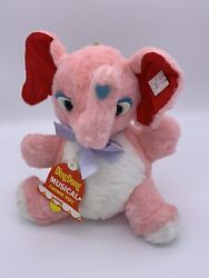 Knickerbocker Ding Dong Musical Chime Toy Roly Poly Pink Plush Elephant Japan