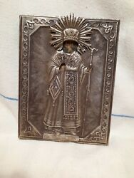 Vintage Antique Rarity Icon Of St. Theodosius With Silver Plating Christianity