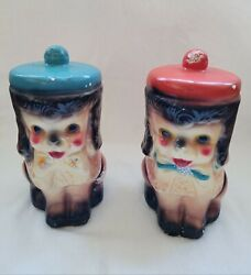 Carnival Chalkware Lot Of 2 Dogs Banks With Glitter Amusement Park Fair Gift