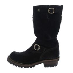 Auth Chrome Hearts Custom Boss Black Suede Mens Boots 9 D 36 12