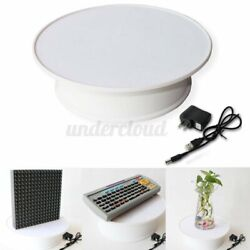 Round Velvet Top Electric Motorized 360anddeg Rotating Display Stand Turntable White