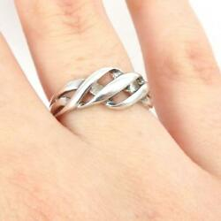 Sterling Silver Multi Band Wave Crisscross Crossover Woven Ring Size 7 Ljd3
