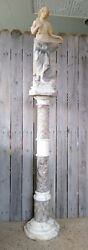 Antique Signed Italian Marble Pedestal Carved Figural Maiden Lamp Sculpture