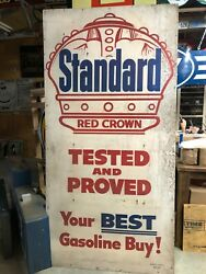 Guaranteed Original Wwii Era Vintage Standard Red Crown Gas Station Sign Oil