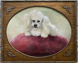 Original Oil On Canvas White Poodle Dog Painting