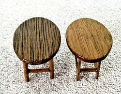 Lot Of 2 Vintage 60s Dollhouse Miniature Wood Oval End Tables 1.25 Tall X 2