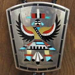 Vintage Sterling Silver Inlay Knife Wing Bolo By Zuni Dennis And Nancy Edaakie