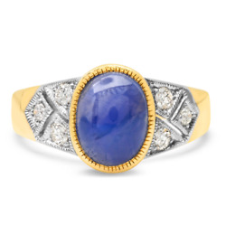 Blue Star Sapphire Diamond Ring 14k Yellow White Gold Certified Natural 4.79tcw