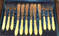 Fine Antique G R Collis Regent St Boxed Silver Plated And Bone Fish Cutlery Set