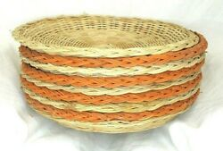 9 Vintage Nevco Wicker Bamboo Paper Plate Holders Camping Bbq 4 Orange 5 Beige