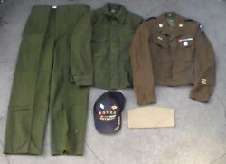 Old Relic Us Army Korean War Era Ike Jacket And Shirt And Pants And Hats Used