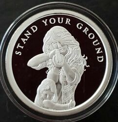 2 Oz 999 Pure Silver Shield Proof Stand Your Ground Mini Mintage Round Coin Girl