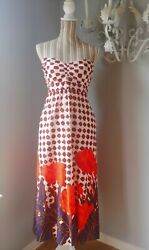 Anthropologie Maeve maxi evening white Red Flowers dress sweetheart neckline 4 $34.94