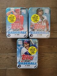 2021 Topps Series 1 ⚾️ 3 Factory Sealed Collector Tins 🔥 225 Cards