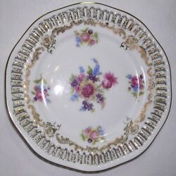 Porcelain Floral Saucer Plate Gold Reticulated Pierced Edge R Bavaria Germany