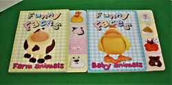 2 Funny Faces Baby Board Books Baby Animals And Farm Animals W/padded Animal Tabs