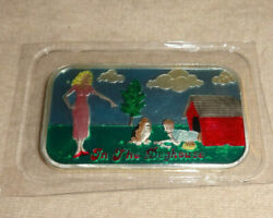 In The Dog House Enameled 1oz .999 Silver Art Bar Cmg Mint