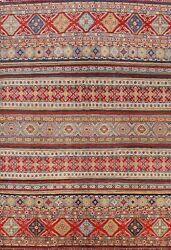 Vegetable Dye Geometric Super Kazak Oriental Area Rug Wool Hand-knotted 8and039x10and039